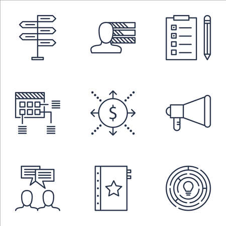 personality development: Set Of Project Management Icons On Announcement, Opportunity And Schedule Topics. Editable Vector Illustration. Includes Cash, Plan And Making Vector Icons.