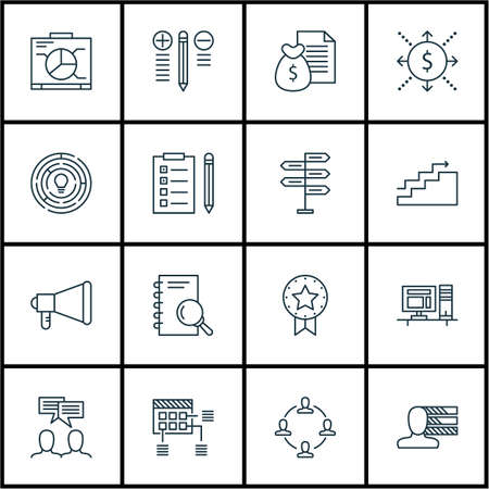ability to speak: Set Of Project Management Icons On Reminder, Analysis And Announcement Topics. Editable Vector Illustration. Includes Meeting, Goal And Brainstorm Vector Icons.
