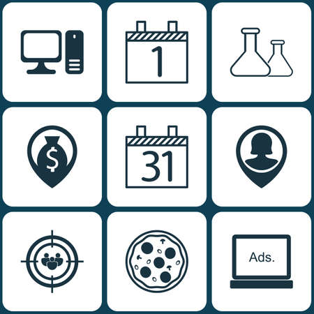 funding of science: Set Of 9 Universal Editable Icons. Can Be Used For Web, Mobile And App Design. Includes Icons Such As Focus Group, Desktop Computer, Pizza Meal And More.