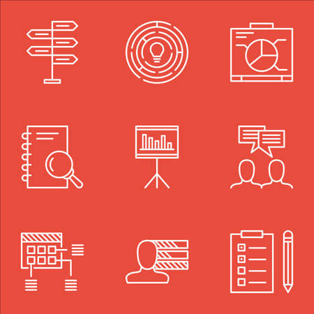 ability to speak: Set Of Project Management Icons On Schedule, Board And Personal Skills Topics. Editable Vector Illustration. Includes Decision, Analysis And Chart Vector Icons.