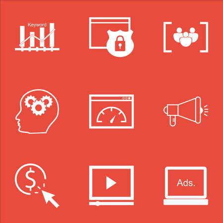 Set Of Advertising Icons On Brain Process, Security And Video Player Topics. Editable Vector Illustration. Includes Pay, Optimization And Group Vector Icons.