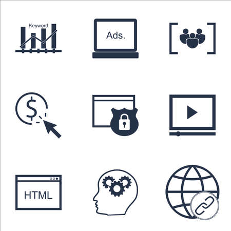 ppc: Set Of Marketing Icons On Digital Media, PPC And Security Topics. Editable Vector Illustration. Includes Matching, Digital And Website Vector Icons. Illustration