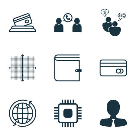 transact: Set Of 9 Universal Editable Icons. Can Be Used For Web, Mobile And App Design. Includes Icons Such As SEO Brainstorm, Graphical Grid, Phone Conference And More.
