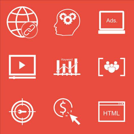 keyword: Set Of Marketing Icons On Keyword Optimisation, PPC And Keyword Marketing Topics. Editable Vector Illustration. Includes Digital, Advertising And Code Vector Icons. Illustration