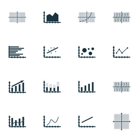 Set Of Graphs, Diagrams And Statistics Icons. Premium Quality Symbol Collection. Icons Can Be Used For Web, App And UI Design. Vector Illustration, EPS10.