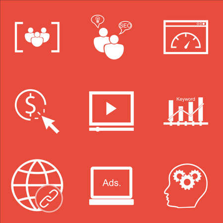 ppc: Set Of Marketing Icons On Digital Media, PPC And Connectivity Topics. Editable Vector Illustration. Includes Brain, Video And Bulding Vector Icons. Illustration