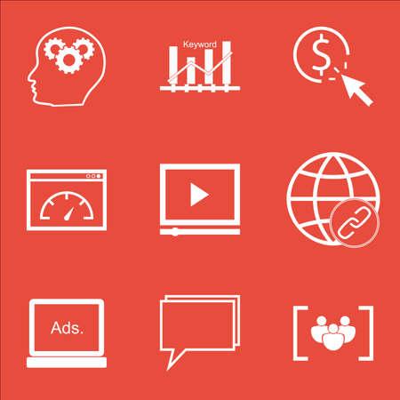 Set Of SEO icônes sur la connectivité, le questionnaire et PPC Sujets. Editable Vector Illustration. Comprend Matching, la page et la performance icônes vectorielles.