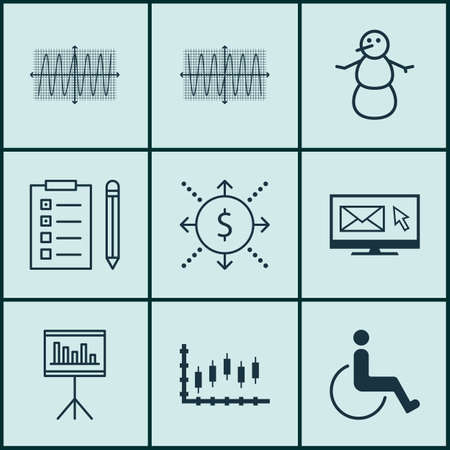 accessibility: Set Of 9 Universal Editable Icons. Can Be Used For Web, Mobile And App Design. Includes Icons Such As Cosinus Diagram, Newsletter, Accessibility And More.