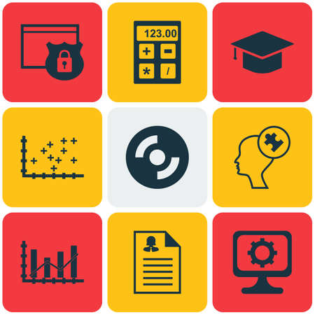 dynamic html: Set Of 9 Universal Editable Icons. Can Be Used For Web, Mobile And App Design. Includes Icons Such As Human Mind, Female Application, Plot Diagram And More.