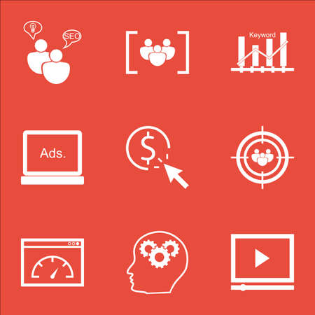 ppc: Set Of SEO Icons On Questionnaire, PPC And Focus Group Topics. Editable Vector Illustration. Includes Video, Brain And Keyword Vector Icons.