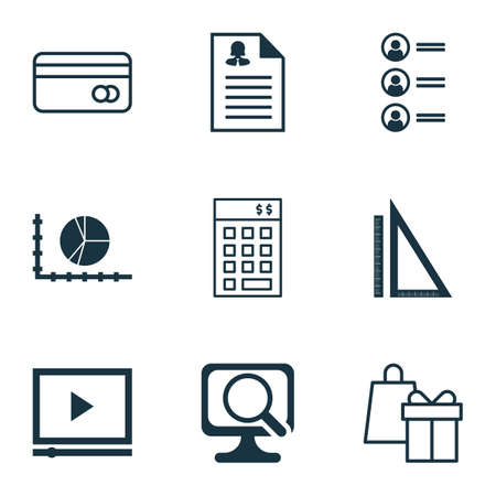 transact: Set Of 9 Universal Editable Icons. Can Be Used For Web, Mobile And App Design. Includes Icons Such As Measurement, Female Application, Plastic Card And More.