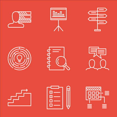 personality development: Set Of Project Management Icons On Innovation, Reminder And Personal Skills Topics. Editable Vector Illustration. Includes Project, Goal And Skills Vector Icons. Illustration