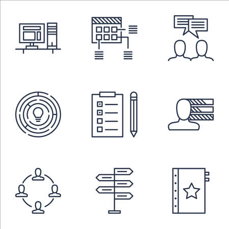project charter: Set Of Project Management Icons On Discussion, Collaboration And Opportunity Topics. Editable Vector Illustration. Includes Workspace, Skills And Teamwork Vector Icons. Illustration
