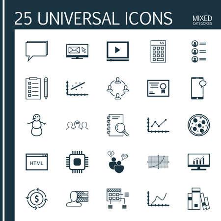 Ensemble de 25 icônes modifiables universelles. Peut être utilisé pour le Web, Mobile et App Design. Comprend des icônes telles que la bibliothèque, la puce, l?argent recyclé, etc.