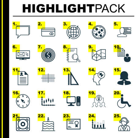 Set Of 25 Universal Editable Icons. Can Be Used For Web, Mobile And App Design. Includes Icons Such As Newsletter, Analysis, Segmented Bar Graph And More. Vettoriali