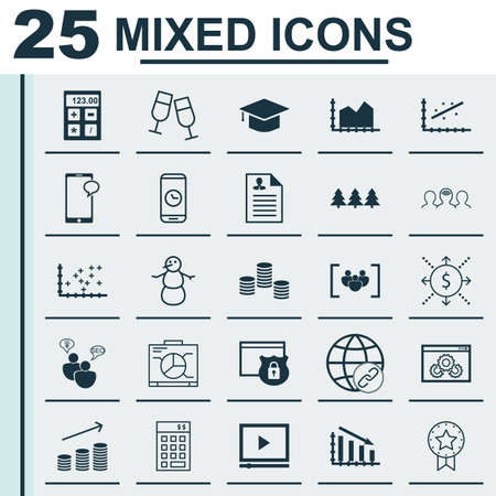 christmas budget: Set Of 25 Universal Editable Icons. Can Be Used For Web, Mobile And App Design. Includes Icons Such As Graduation, Investment, Coins Growth And More. Illustration