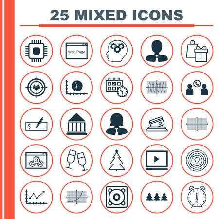 debt collection: Set Of 25 Universal Editable Icons. Can Be Used For Web, Mobile And App Design. Includes Icons Such As Innovation, Decorated Tree, Holiday Ornament And More.