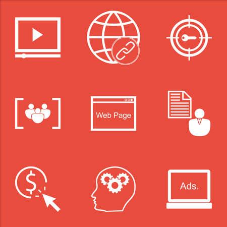 Ensemble d'icônes marketing sur le questionnaire, sites Web et sujets de connectivité. Illustration vectorielle modifiable Comprend les icônes vectorielles Click, Brain And Target.
