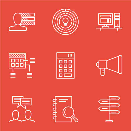 project charter: Set Of Project Management Icons On Computer, Discussion And Personal Skills Topics. Editable Vector Illustration. Includes Office, Fork And Research Vector Icons. Illustration