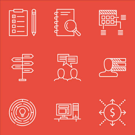project charter: Set Of Project Management Icons On Innovation, Analysis And Schedule Topics. Editable Vector Illustration. Includes Flow, Brainstorm And Cash Vector Icons. Illustration