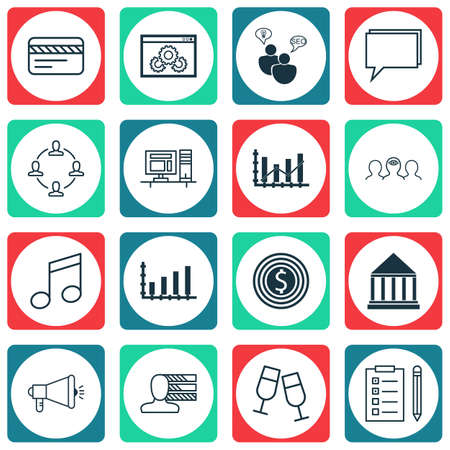 Set Of 16 Universal Editable Icons. Can Be Used For Web, Mobile And App Design. Includes Icons Such As Personal Skills, Bank Card, Coaching And More.