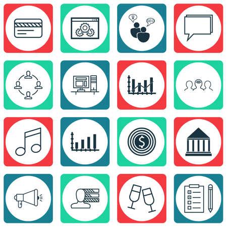Ensemble de 16 icônes modifiables universelles. Peut être utilisé pour le Web, Mobile et App Design. Comprend des icônes telles que compétences personnelles, carte bancaire, coaching et plus encore.