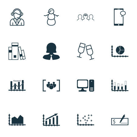 segmented: Set Of 16 Universal Editable Icons. Can Be Used For Web, Mobile And App Design. Includes Icons Such As Desktop Computer, Segmented Bar Graph, Bank Payment And More. Illustration