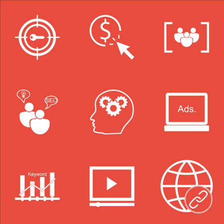 thinking link: Set Of Advertising Icons On Video Player, SEO Brainstorm And Connectivity Topics. Editable Vector Illustration. Includes Bulding, Display And Keyword Vector Icons. Illustration