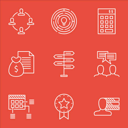 personality development: Set Of Project Management Icons On Personal Skills, Innovation And Discussion Topics. Editable Vector Illustration. Includes Finance, Badge And Plan Vector Icons.
