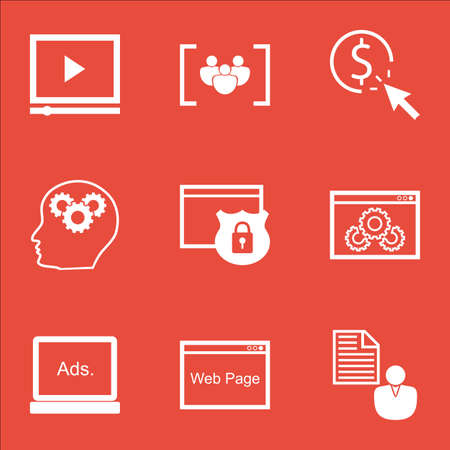 ppc: Set Of Advertising Icons On Website Performance, PPC And Report Topics. Editable Vector Illustration. Includes Performance, Businessman And Plan Vector Icons.