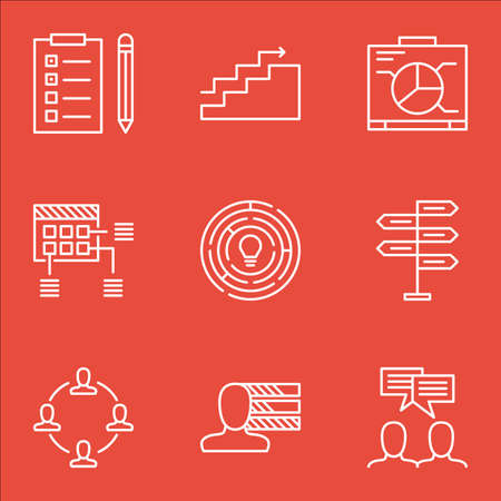 project charter: Set Of Project Management Icons On Collaboration, Schedule And Reminder Topics. Editable Vector Illustration. Includes Growth, Fork And Teamwork Vector Icons.