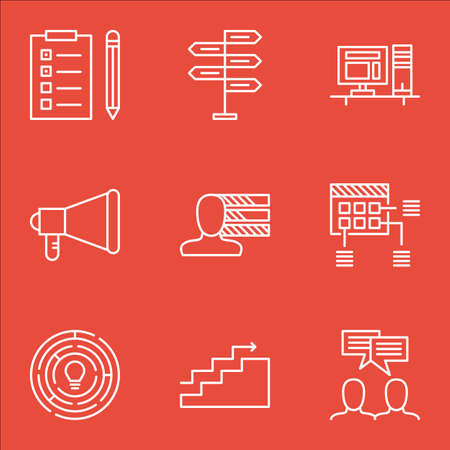 personality development: Set Of Project Management Icons On Reminder, Announcement And Computer Topics. Editable Vector Illustration. Includes Meeting, Idea And Team Vector Icons.
