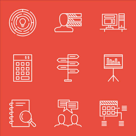 project charter: Set Of Project Management Icons On Innovation, Opportunity And Schedule Topics. Editable Vector Illustration. Includes Brainstorm, Personal And Discussion Vector Icons. Illustration