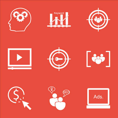 Set Of Marketing Icons On Brain Process, PPC And Questionnaire Topics. Editable Vector Illustration. Includes Plan, Audience And Digital Vector Icons.