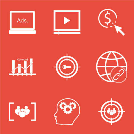 thinking link: Set Of Advertising Icons On Video Player, Connectivity And Digital Media Topics. Editable Vector Illustration. Includes Bulding, Group And Ranking Vector Icons.