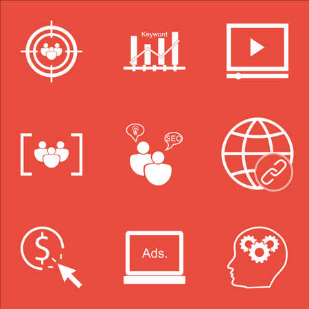 Set Of Marketing Icons On Video Player, Keyword Optimisation And PPC Topics. Editable Vector Illustration. Includes Ranking, Keyword And Audience Vector Icons. Illustration