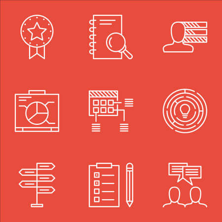 personality development: Set Of Project Management Icons On Analysis, Present Badge And Board Topics. Editable Vector Illustration. Includes Brainstorm, Plan And Schedule Vector Icons.