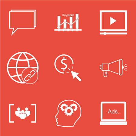 thinking link: Set Of Marketing Icons On Conference, Video Player And PPC Topics. Editable Vector Illustration. Includes Pay, Creativity And Consulting Vector Icons.