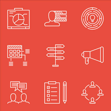 project charter: Set Of Project Management Icons On Personal Skills, Reminder And Collaboration Topics. Editable Vector Illustration. Includes Personality, Brainstorming And Reminder Vector Icons.