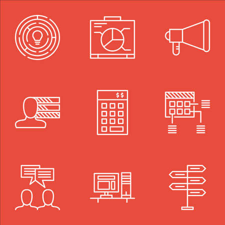 project charter: Set Of Project Management Icons On Personal Skills, Announcement And Computer Topics. Editable Vector Illustration. Includes Project, Office And Announcement Vector Icons. Illustration