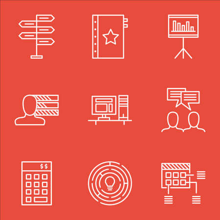 ability to speak: Set Of Project Management Icons On Presentation, Computer And Innovation Topics. Editable Vector Illustration. Includes Personality, Warranty And Statistics Vector Icons.