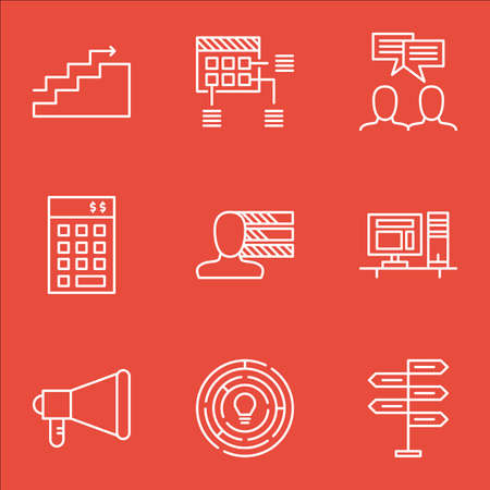 personality development: Set Of Project Management Icons On Discussion, Announcement And Growth Topics. Editable Vector Illustration. Includes Budget, Making And Workspace Vector Icons. Illustration