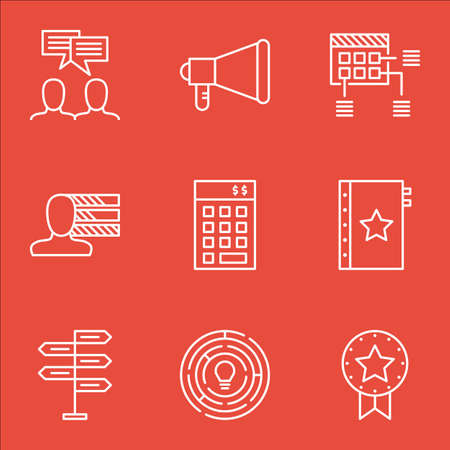 team discussion: Set Of Project Management Icons On Warranty, Investment And Announcement Topics. Editable Vector Illustration. Includes Team, Discussion And Badge Vector Icons.