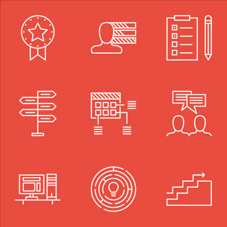 project charter: Set Of Project Management Icons On Innovation, Reminder And Growth Topics. Editable Vector Illustration. Includes Win, Badge And Fork Vector Icons.