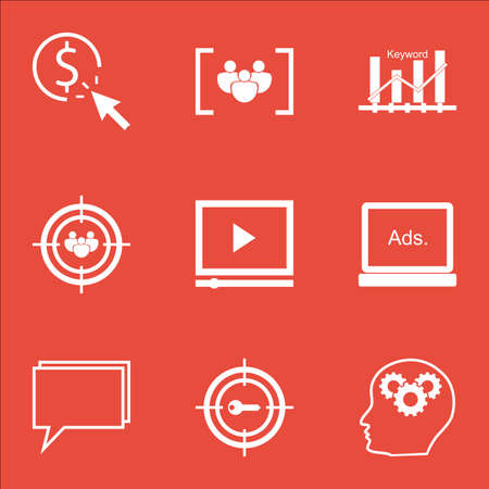 briefing: Set Of Advertising Icons On Questionnaire, Conference And Digital Media Topics. Editable Vector Illustration. Includes Consulting, Optimization And Group Vector Icons. Illustration