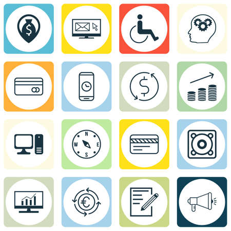 Set Of 16 Universal Editable Icons. Can Be Used For Web, Mobile And App Design. Includes Icons Such As Newsletter, Accessibility, Desktop Computer And More.
