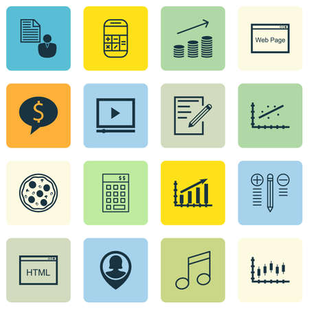 crotchets: Set Of 16 Universal Editable Icons. Can Be Used For Web, Mobile And App Design. Includes Icons Such As Decision Making, Coins Growth, Business Deal And More. Illustration