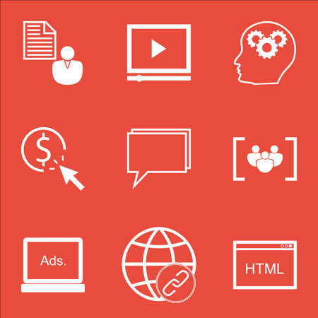 Set Of Marketing Icons On Coding, Video Player And PPC Topics. Editable Vector Illustration. Includes Group, Creativity And Web Vector Icons.
