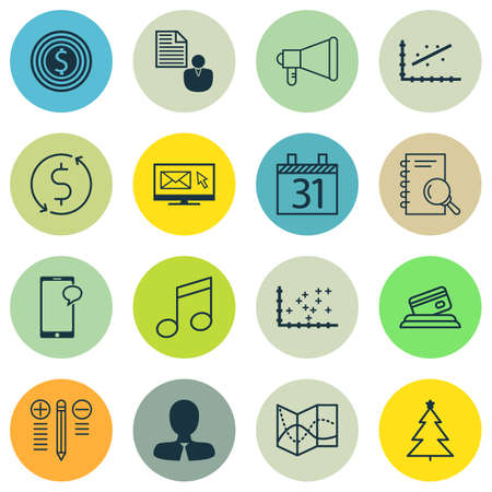 crotchets: Set Of 16 Universal Editable Icons. Can Be Used For Web, Mobile And App Design. Includes Icons Such As Date, Decorated Tree, Decision Making And More.