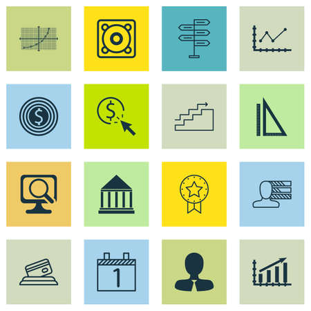 profile measurement: Set Of 16 Universal Editable Icons. Can Be Used For Web, Mobile And App Design. Includes Icons Such As Line Grid, Credit Card, Manager And More. Illustration